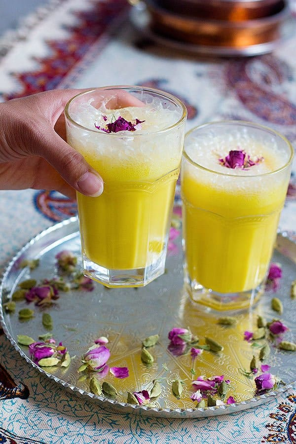 This saffron milkshake recipe that I'm sharing with you today is also a new way to use two of my all time favorite flavors that also happen to be the flavors of Iran's traditional ice cream as well.