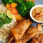 Thai Chicken Skewers with Spicy Peanut Sauce