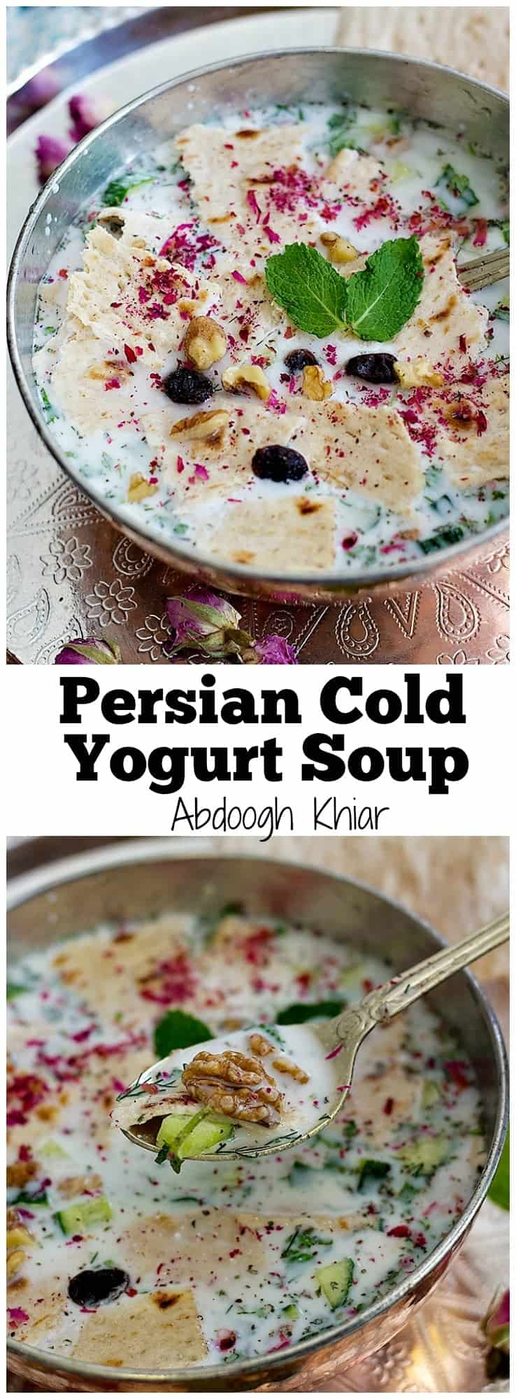 Stay cool this summer with this Persian Cold Yogurt Soup - Abdoogh Khiar. This tasty yogurt soup is made with simple, natural and healthy ingredients.