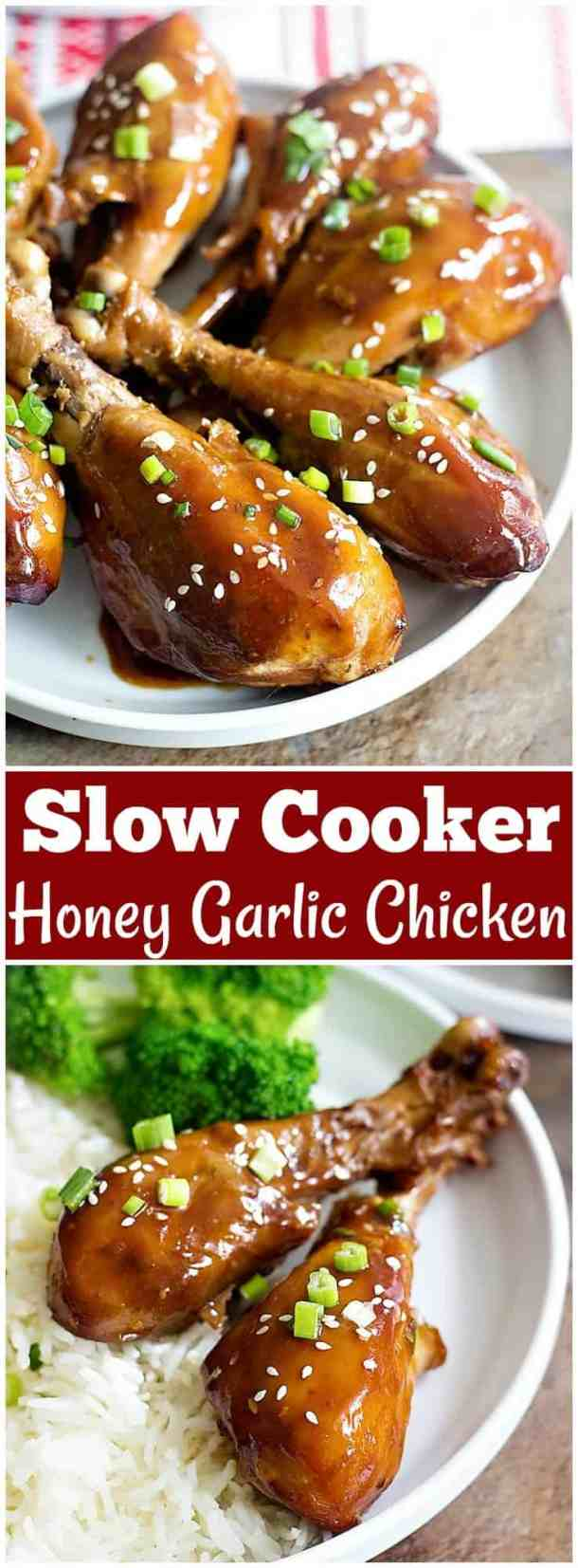 Slow Cooker Honey Garlic Chicken requires minimal preparation and is great for lunch or dinner. Delicious chicken drumsticks cooked with a tasty sauce have so much flavor!