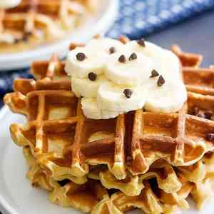 Peanut Butter Banana Waffles with Chocolate Chips