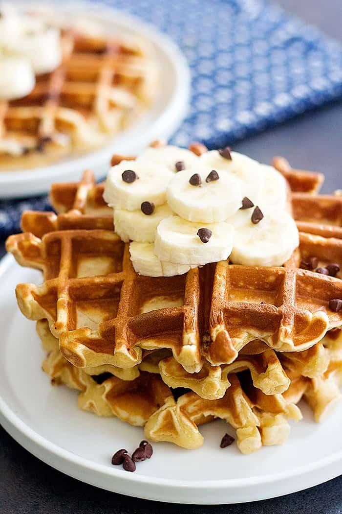 Peanut Butter Chocolate Chip Banana Waffles • Unicorns in ...
