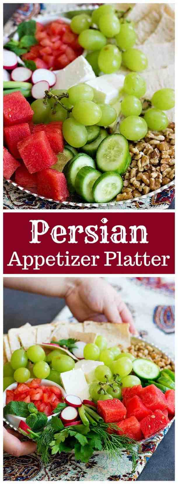 Persian Appetizer Platter is a great choice for gatherings and parties. This platter can be served as an afternoon snack too, it'll be great with a cup of tea!