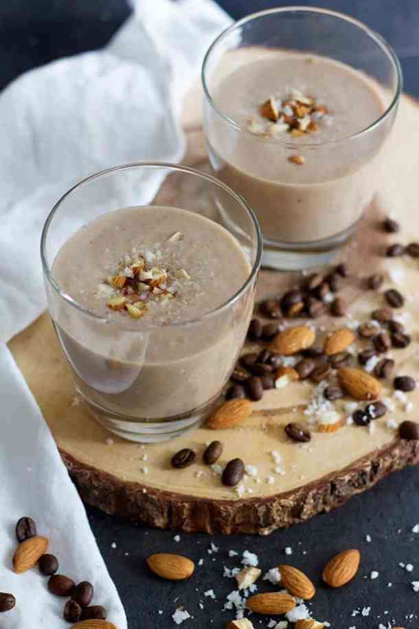 Almond Coconut Breakfast Smoothie is a full breakfast packed into a glass! With a touch of espresso, this smoothie will have you ready for a great day!