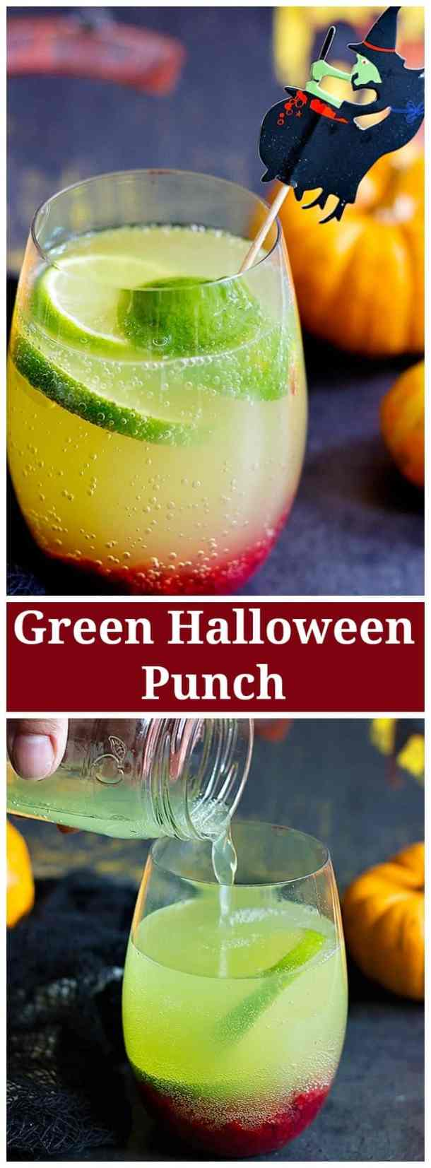 Make this spooky Green Halloween Punch for your Halloween party and have fun. From unicornsinthekitchen.com #Halloween #punchdrink