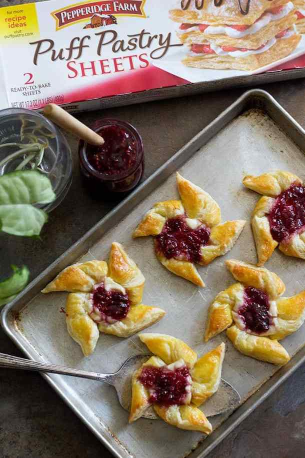 Raspberry Danish is a simple and easy pastry that you can make in no time with just three simple ingredients. It's great for breakfast or as an afternoon snack!