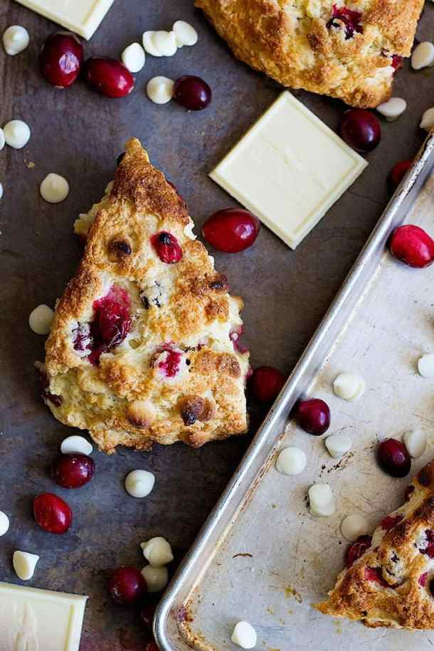 Christmas Scones with cranberries and white chocolate