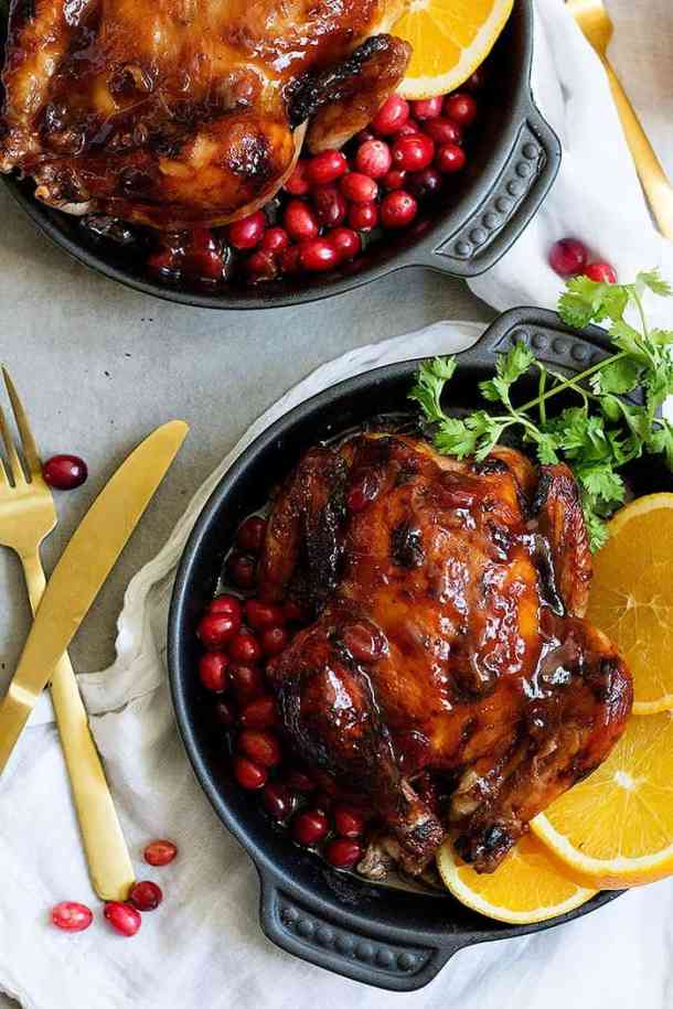 How to prepare cornish hens with cranberries and orange glaze
