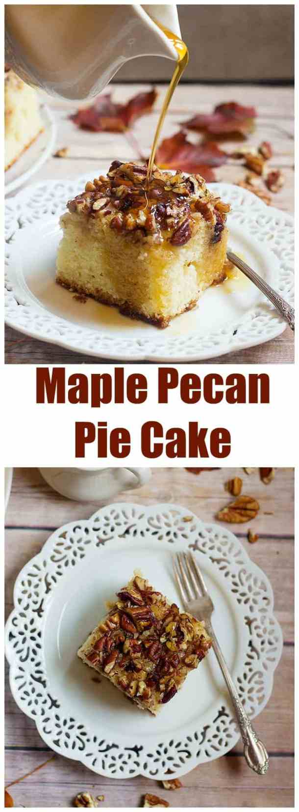 This Pecan Pie Cake Recipe is one you will want to print and save. This delicious cake is topped with chopped pecans and drizzled with pure maple syrup.