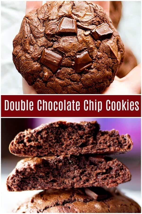 Chewy Double Chocolate Cookies will cure all your chocolate cravings in one bite. These double chocolate cookies are crispy on the edges and very chewy on the inside with big chocolate chunks in every bite! #cookiesRecipes #DoubleChocolateCookies #holidaybaking #chocolatelover