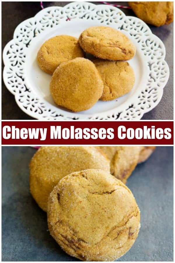 This molasses cookies recipe makes true holiday cookies. They are crispy on the edges and chewy on the inside. The combination of ginger, cinnamon, and molasses makes these cookies irresistible! #molassescookies #holidaycookies #christmascookies #cookierecipe