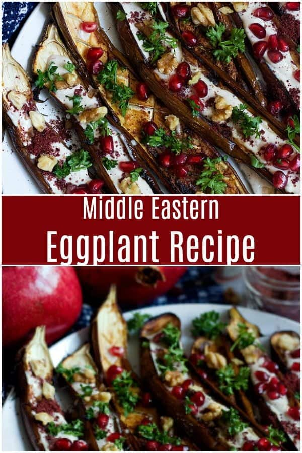 This is a Middle Eastern Eggplant Recipe to always have close at hand. It's served with a stunning tahini yogurt sauce and pomegranate arils, perfect as a side dish or an impressive appetizer! #MiddleEasternFood #PersianFood #YaldaNight