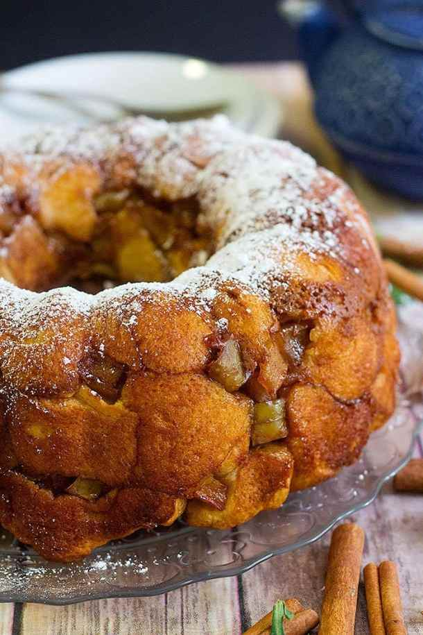 Apple monkey bread is delicious with layers of cinnamon dough and baked apples.