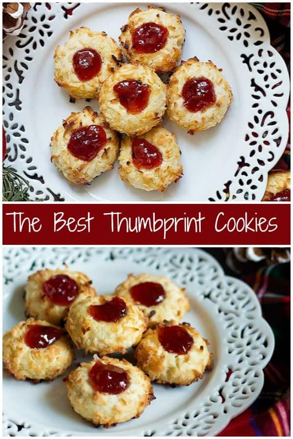 Thumbprint Cookies are a classic holiday favorite. These delicate cookies are baked to perfection and filled with delicious raspberry jam, perfect for the holidays! #thumbprintcookies #cookierecipe #holidaycookies #cookies