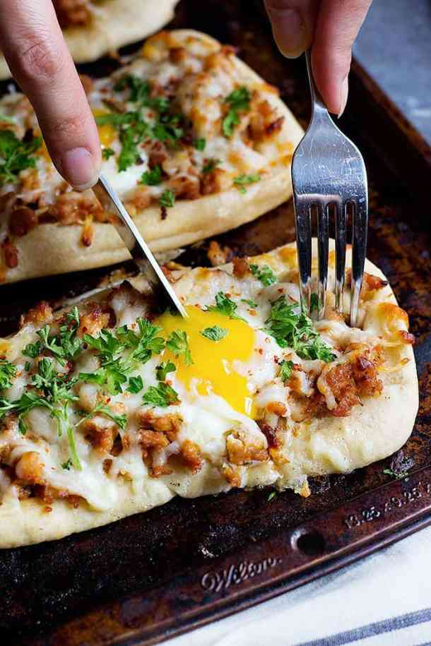 This Breakfast Pizza Recipe is one to keep. That golden yolk is pure delicious!