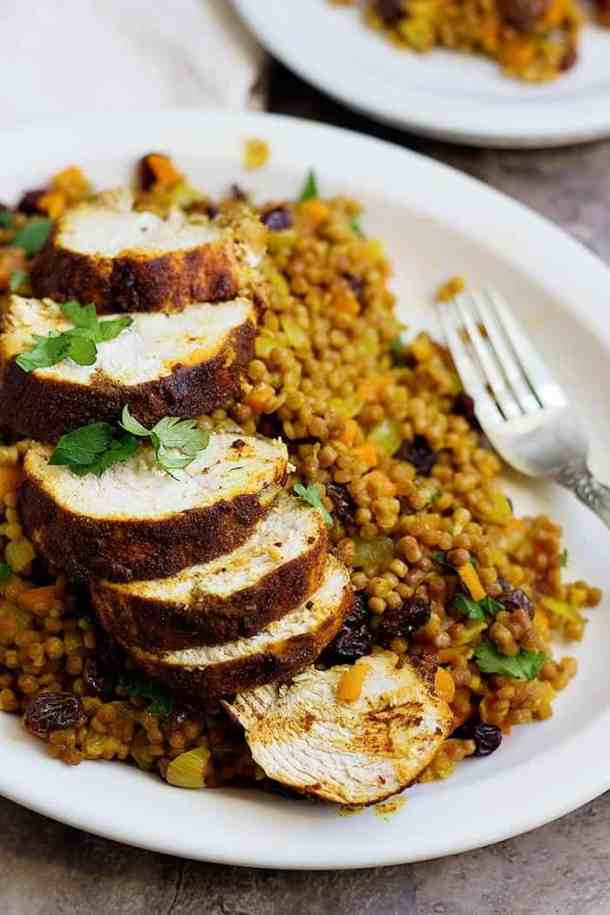 Marinated Moroccan chicken with Moroccan couscous.