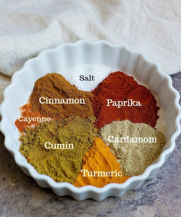 spices for the chicken marinade are cumin, cinnamon, cayenne, turmeric, paprika, cardamom and salt.