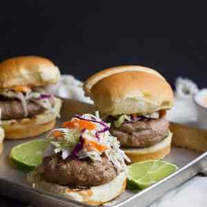 Thai Turkey Burgers with Cabbage Slaw
