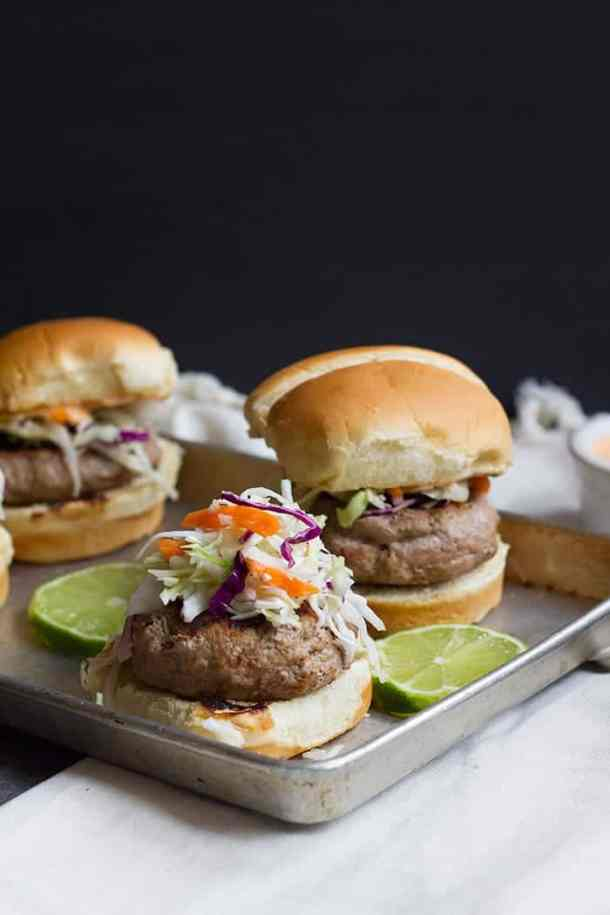 Thai Turkey Burgers topped with crunchy cabbage slaw.
