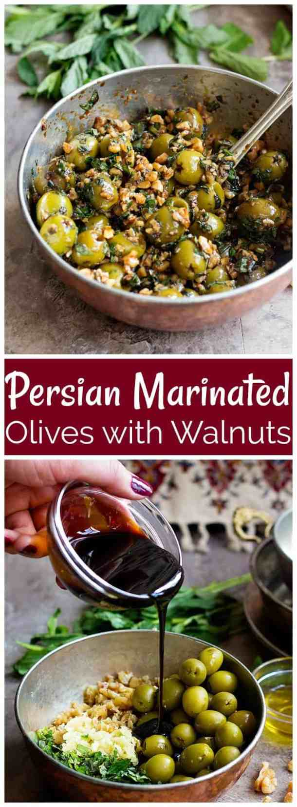 Persian Marinated Olives | Marinated Olives | Mediterranean food | Persian Side Dish | Persian Appetizer | Persian Recipes | Middle Eastern Recipes | Olives and Walnuts | Zeytoon | Zeytoon Parvardeh | Unicornsinthekitchen.com