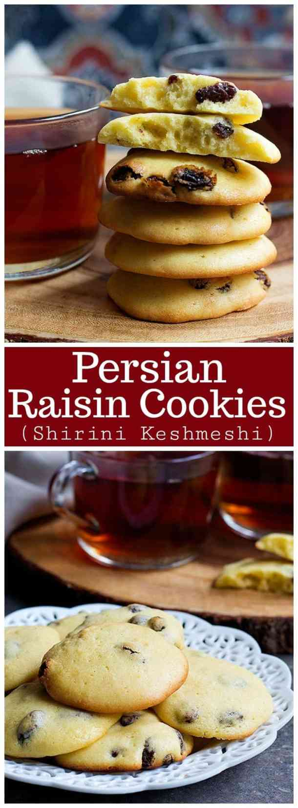 Raisin cookies made Persian style! These delicious and delicate cookies are perfect for the Persian New Year or any other time of the year. They're crunchy on the edges and soft in the center, perfect for a snack or dessert.