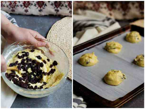 Fold in the raisins until well incorporated and scoop the cookie dough into the baking sheet.