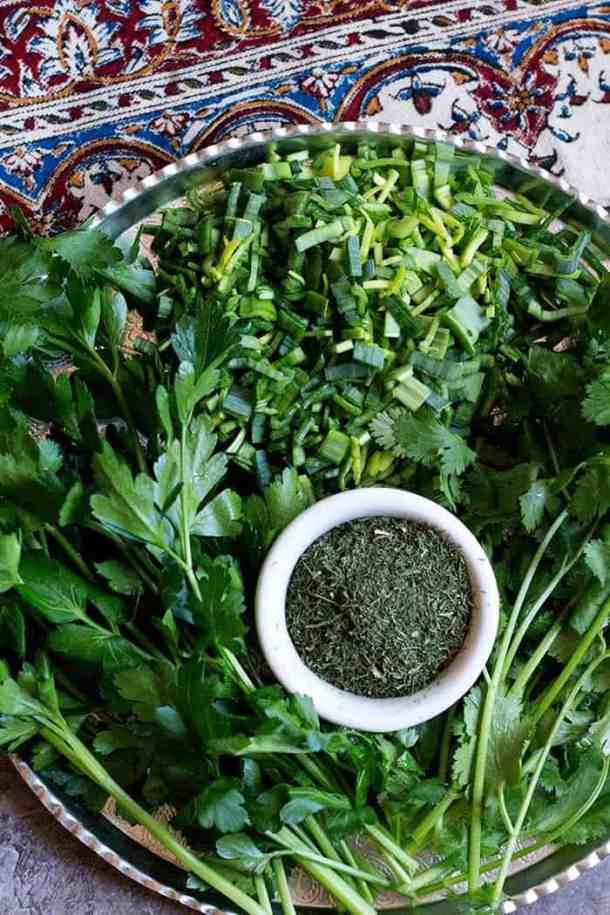 Herbs used in Sabzi Polo are leeks, cilantro, parsley and dill. You can use fresh or dried herbs.