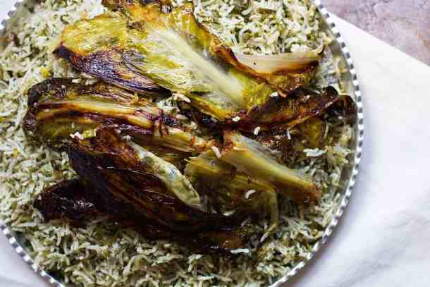 Persian herb rice with lettuce tahdig. This rice is very aromatic and tasty.