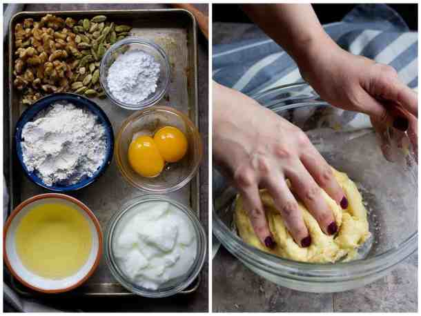 To make this Persian dessert you need walnuts, sugar, cardamom, flour, vegetable oil and egg yolk. Make the dough fist.