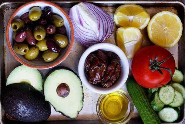 to make avocado salad you need avocado, olives, olive oil, tomatoes, cucumbers, sun dried tomatoes and onion.