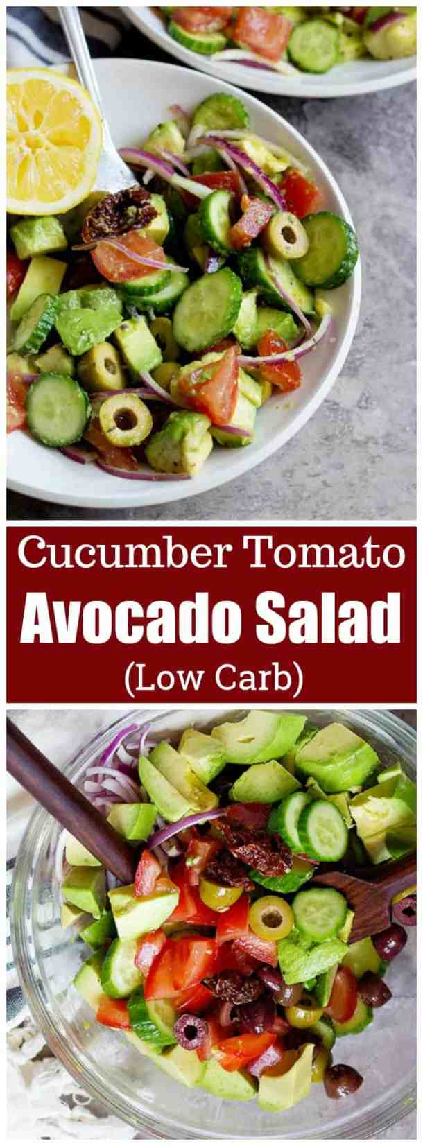 This cucumber tomato avocado salad is perfect for any day of the week. This easy and tasty salad comes together in no time and is full of flavor thanks to sun dried tomatoes and olives. #lowcarb #lowcarbdiet #lowcarbrecipes #avocadosalad #avocadotomato #saladrcipes #healthysaladrecipes #summersaladrecipes
