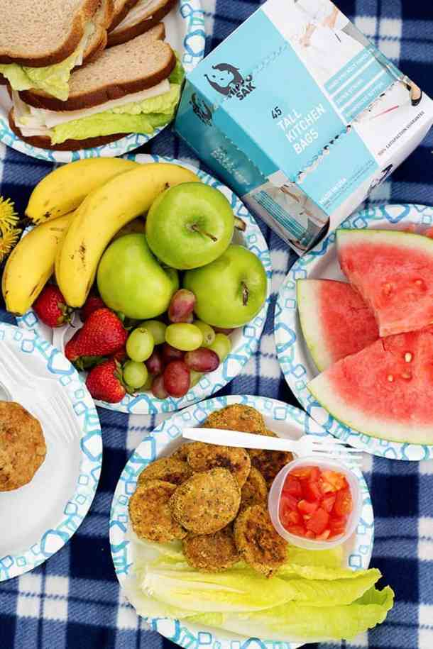Have a lot of fruit, watermelon and some falafels and sandwiches.