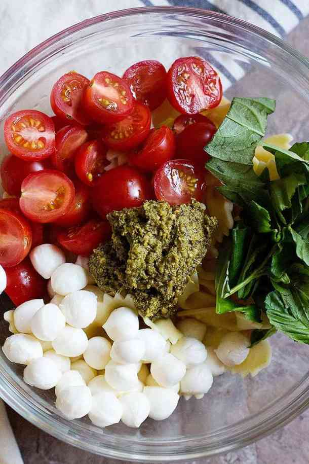 For this Italian pasta salad recipe mix all the ingredients in a large bowl.