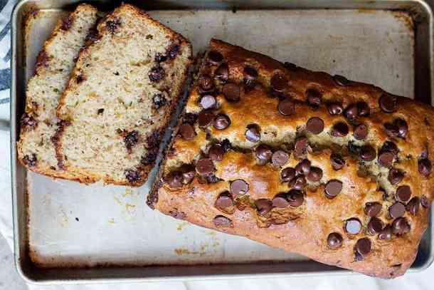 let banana chocolate chip bread cool and then slice it
