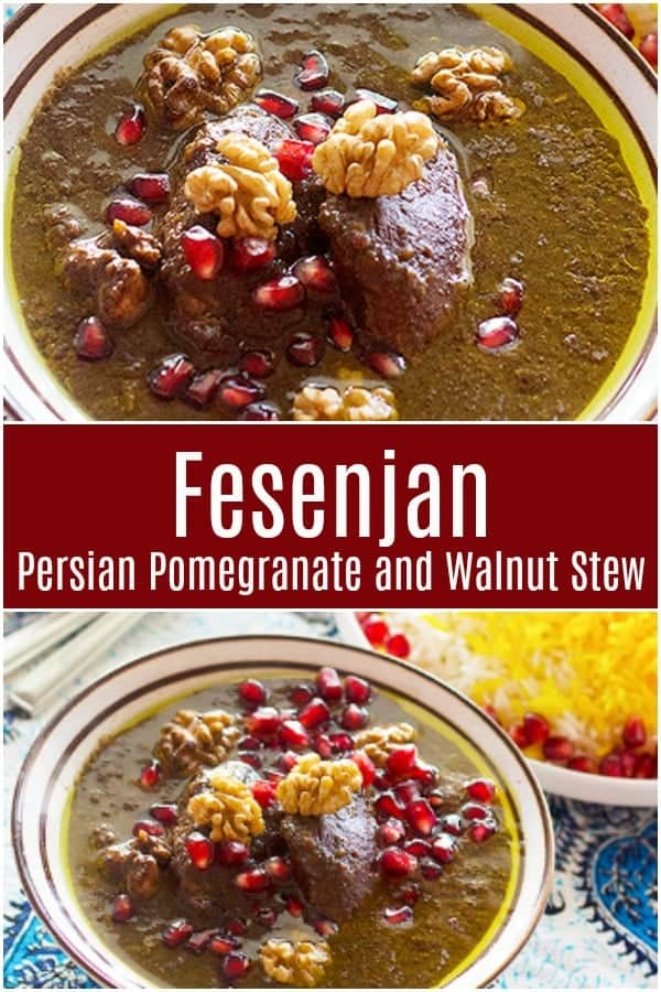 Fesenjan stew is a wonderful Persian concoction made with chicken, pomegranates and walnuts served with rice for a perfect meal with bold flavors! #persianrecipes #fesenjan #fesenjoon #easypersianrecipes #persianfood