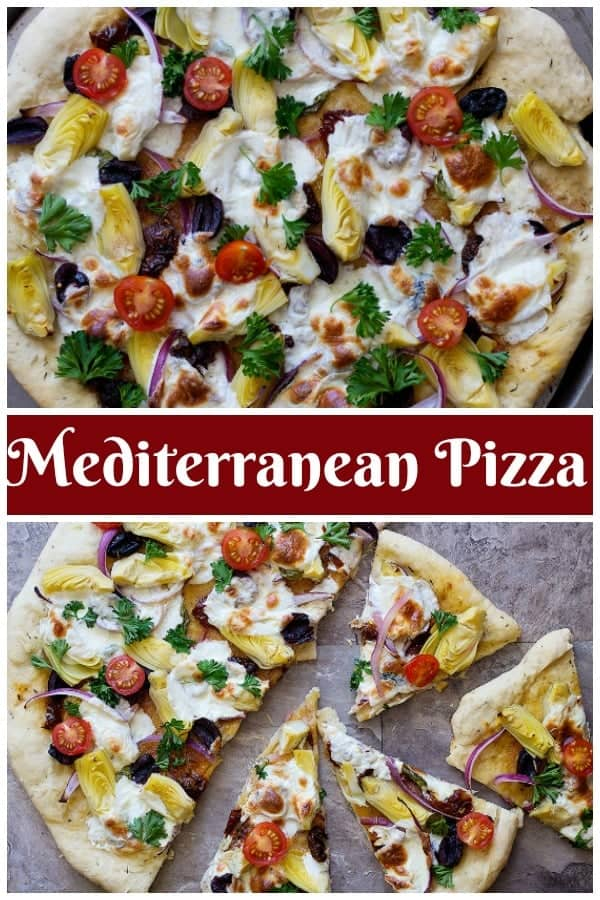 Mediterranean pizza is the ultimate easy fresh family dinner that everyone will devour. This is a delicious homemade pizza recipe with different Mediterranean toppings that would knock your socks off!#pizzarecipe #Mediterraneanrecipes #pizzanight #pizzafriday
