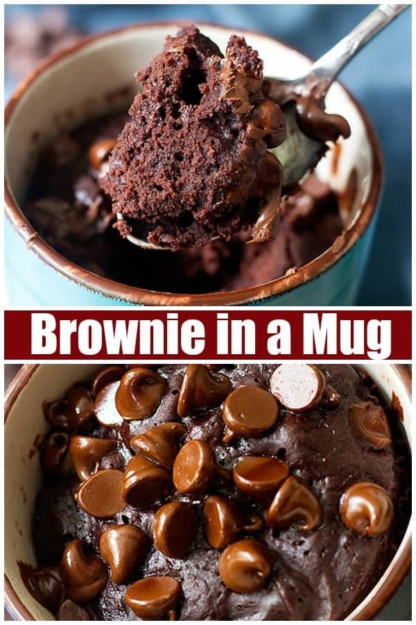 This chocolate brownie recipe is made in a mug and therefore perfect for one! It takes about five minutes from start to finish, it's fudgy, chocolaty and perfect with a scoop of ice cream! #browniercipe #mugbrownie #brownieinamug #chocolatebrownie #bestbrownie