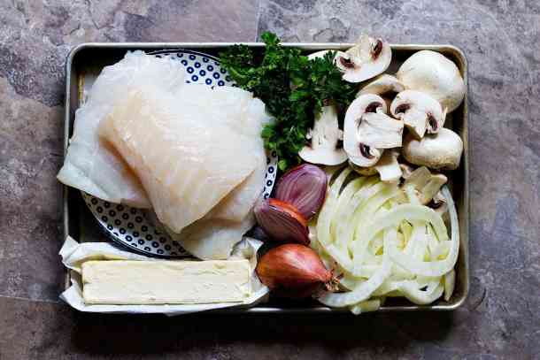 To make pan seared cod you need cod, shallots, butter, fennel and mushrooms.