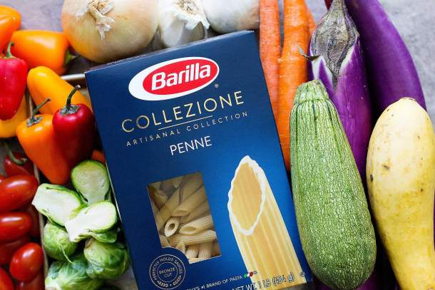 To make pasta with roasted vegetables you need pasta, peppers, zucchini, eggplant, onion, garlic, tomato and brussels sprouts.