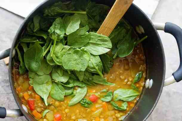 Add spinach to the soup at the last minute and stir just enough for the leaves to wilt.