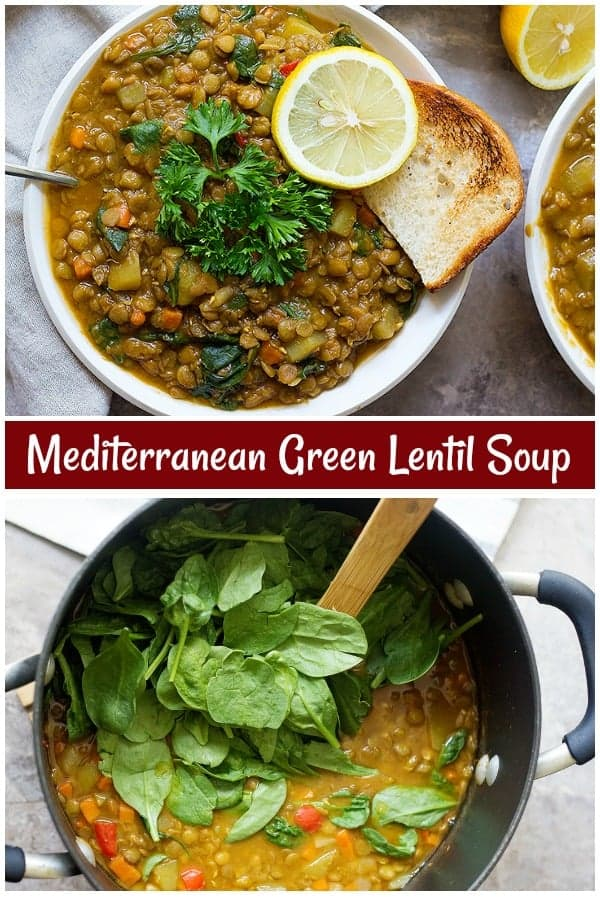 This green lentil soup is great for weeknight dinners. Finally, a lentil soup recipe that's jam-packed with Mediterranean flavors!#lentilsoup #vegetarianrecipes #lentilrecipes #vegetariansoup