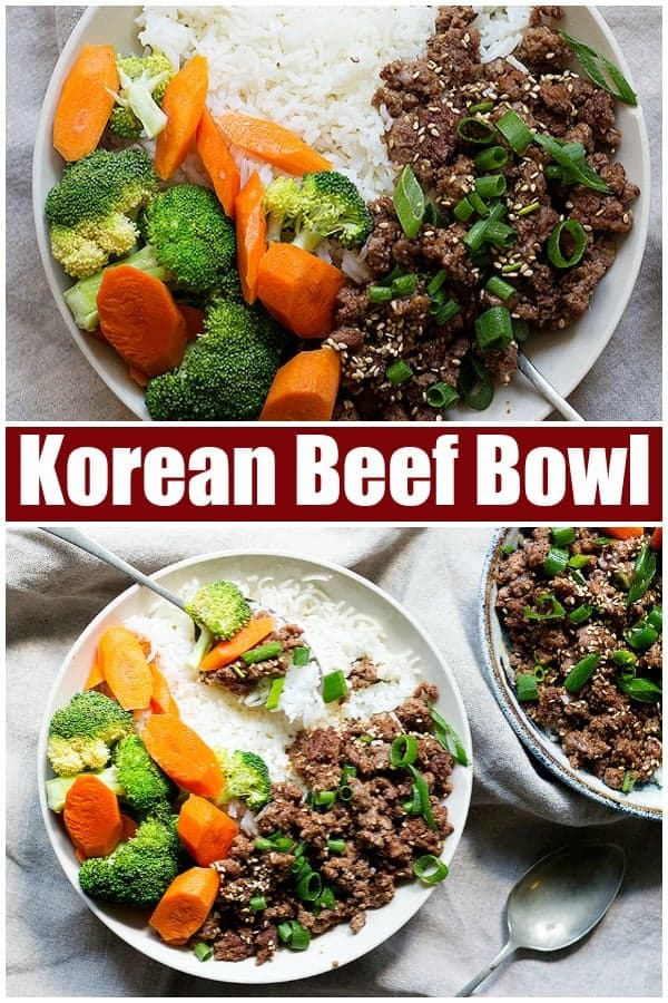 Korean beef bowl recipe is the ultimate weeknight dinner. Flavorful ground beef and rice topped with steamed veggies make an easy meal in only twenty minutes!#koreanbeef #weeknightdinner #easydinner #Asianrecipes #groundbeefrecipes