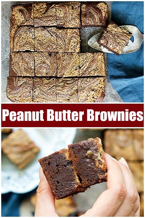 Fudgy chocolate brownies topped with a luscious peanut butter swirl are absolutely delicious. Learn how to make peanut butter brownies from scratch and wow everyone! #browniesrecipes #brownierecipe #peanutbutterbrownies #peanutbutterchocolate #brownies