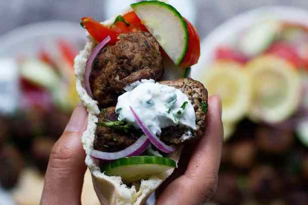 This Greek meatball recipe is perfect with some homemade tzatziki sauce.