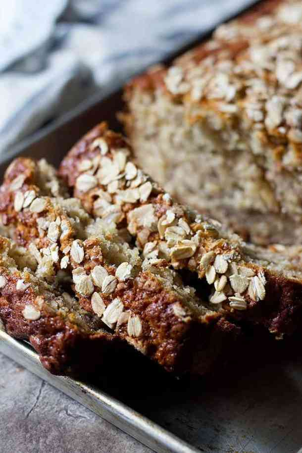 Healthy oatmeal banana bread is great for breakfast with some butter.