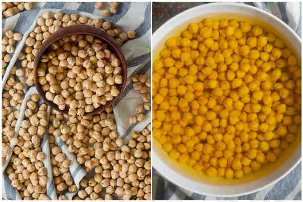 To make homemade falafel, soak chickpeas in water for 18 hours.
