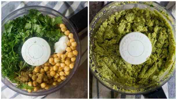 Tomake falafel patties, place chickpeas, parsley, cilantro, garlic, onion and spices in a food processor and process until you have a smooth paste.