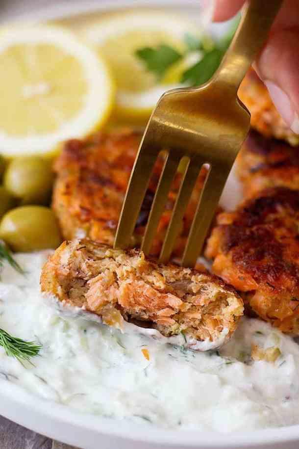 The sauce for salmon patties is tzatziki.