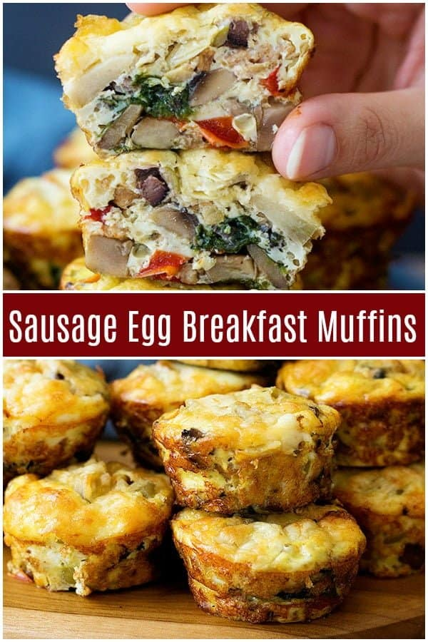 Sausage breakfast muffins come together in no time and are super simple to make. These Breakfast egg muffins are packed with tasty sausage and vegetables! #breakfast #breakfastrecipes #easybreakfast #eggmuffins #sausageandeggs
