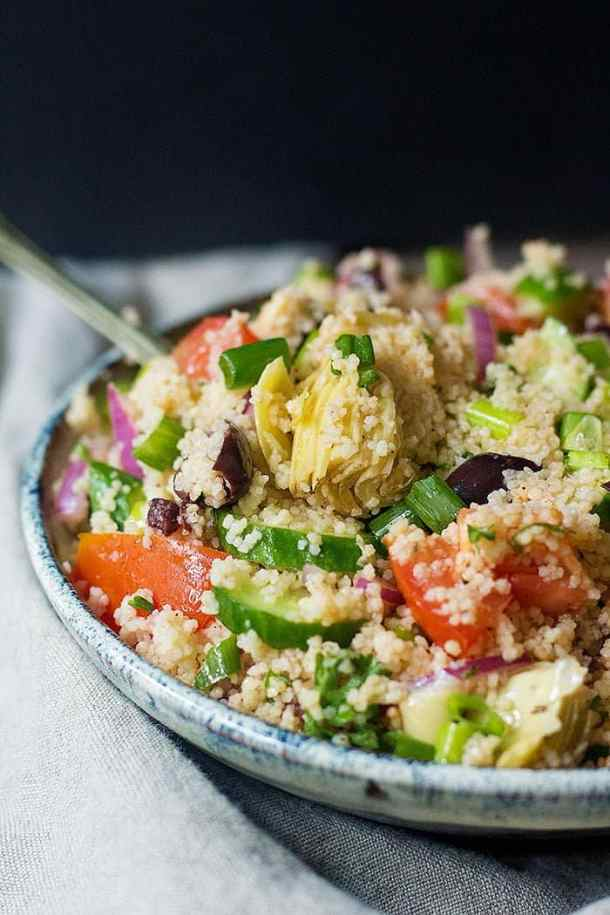 This Mediterranean salad made with couscous is best served cold.